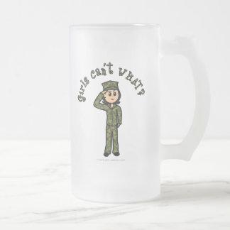 Chica militar - luz taza de cristal