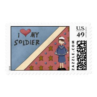 Chica militar Posta del soldado de Sailer de la Sellos Postales