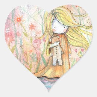 Chica minúsculo y sus pegatinas del oso de peluche pegatina en forma de corazón