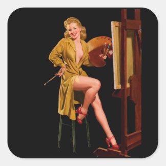 Chica modelo de Elvgren del vintage del artista Pegatina Cuadrada