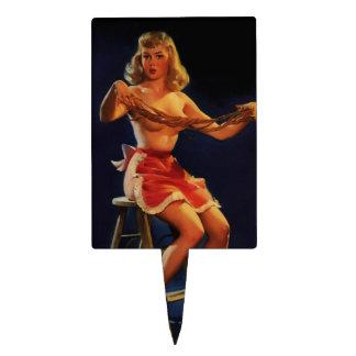 Chica modelo de Gil Elvgren del vintage del fabric Decoración Para Tarta