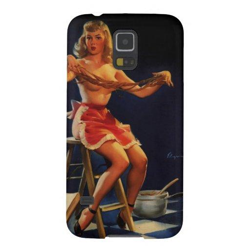 Chica modelo de Gil Elvgren del vintage del fabric Fundas De Galaxy S5