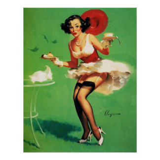 Chica modelo de Gil Elvgren del vintage del tiempo Poster