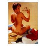 Chica modelo de Gil Elvgren del vintage del verano Felicitaciones