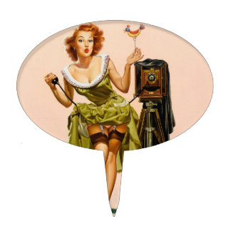 Chica modelo de la cámara del vintage decoraciones para tartas