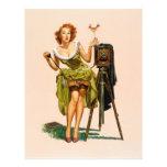 Chica modelo de la cámara del vintage tarjetas informativas