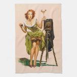 Chica modelo de la cámara del vintage toalla de mano
