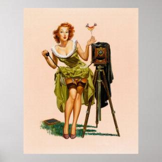 Chica modelo de la cámara del vintage póster