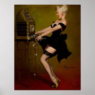 Chica modelo de la máquina tragaperras de Gil Elvg Póster