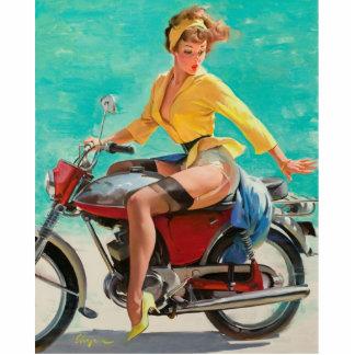 Chica modelo de la motocicleta - arte modelo retro escultura fotográfica