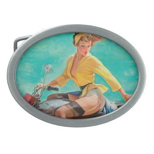 Chica modelo de la motocicleta - arte modelo retro hebillas de cinturon
