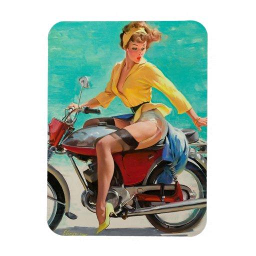 Chica modelo de la motocicleta - arte modelo retro imanes rectangulares