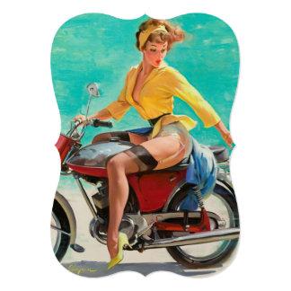 """Chica modelo de la motocicleta - arte modelo retro invitación 5"""" x 7"""""""