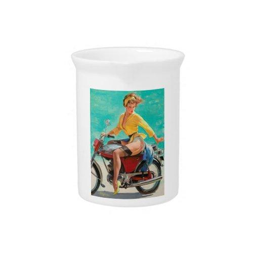 Chica modelo de la motocicleta - arte modelo retro jarrón