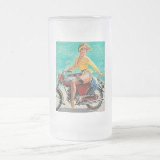 Chica modelo de la motocicleta - arte modelo retro jarra de cerveza esmerilada