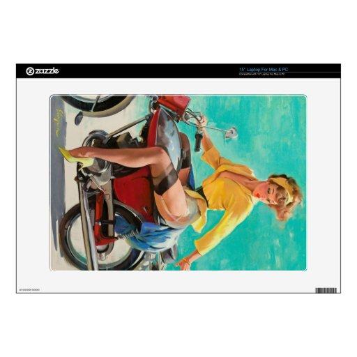 Chica modelo de la motocicleta - arte modelo retro calcomanías para 38,1cm portátiles