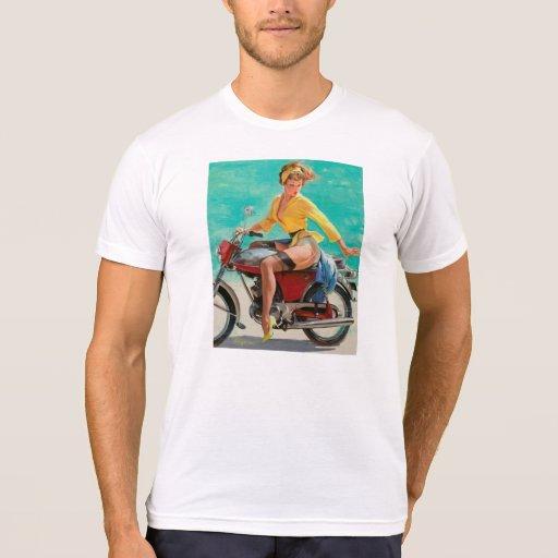 Chica modelo de la motocicleta - arte modelo retro camisetas