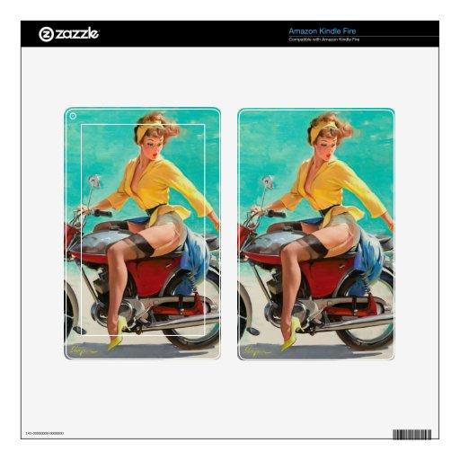 Chica modelo de la motocicleta - arte modelo retro kindle fire pegatinas skins