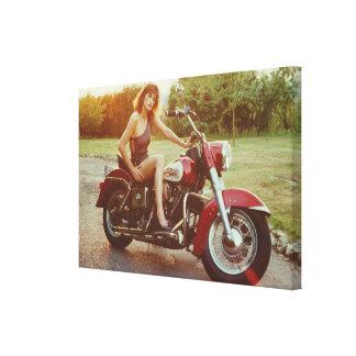 chica modelo de la motocicleta de los años 80 impresion en lona