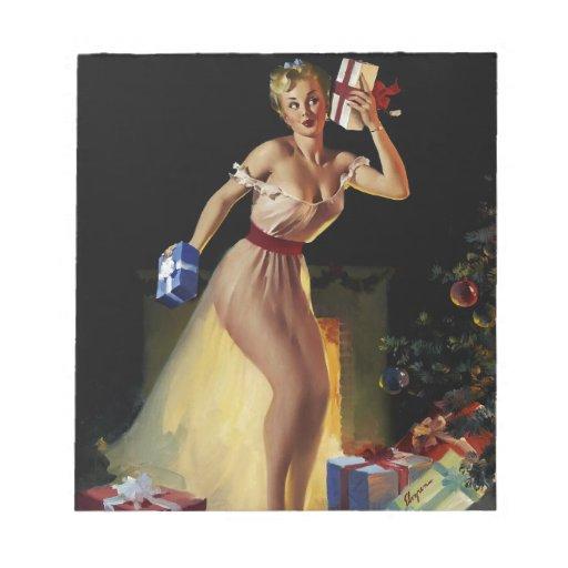Chica modelo de la Nochebuena retra de Gil Elvgren Bloc De Notas