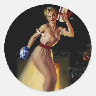 Chica modelo de la Nochebuena retra de Gil Elvgren Pegatinas Redondas