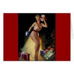Chica modelo de la Nochebuena retra de Gil Elvgren Felicitación