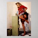 Chica modelo de la oficina retra de Gil Elvgren de Poster