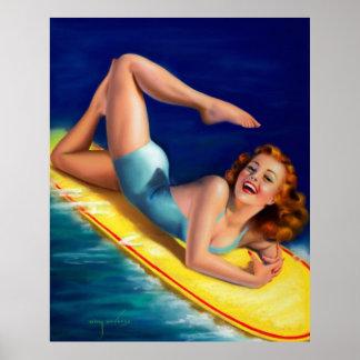 Chica modelo de la persona que practica surf retra póster