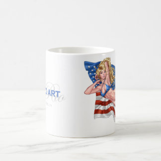 Chica modelo del bikini de la bandera americana po tazas de café