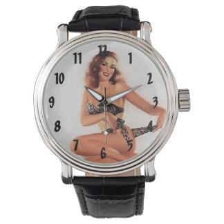 Chica modelo del bikini del vintage relojes de mano