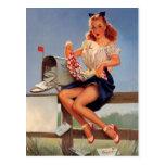 Chica modelo del buzón retro de Gil Elvgren del Postal