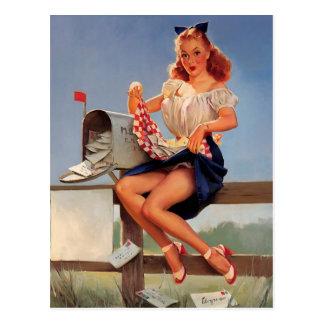 Chica modelo del buzón retro de Gil Elvgren del Tarjetas Postales