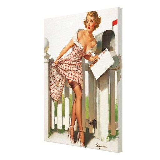 Chica modelo del buzón retro de Gil Elvgren del vi Impresión En Tela
