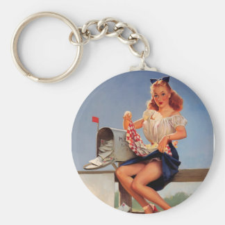 Chica modelo del buzón retro de Gil Elvgren del vi Llavero Redondo Tipo Pin
