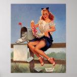 Chica modelo del buzón retro de Gil Elvgren del vi Impresiones