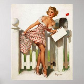 Chica modelo del buzón retro de Gil Elvgren del vi Poster