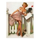Chica modelo del buzón retro de Gil Elvgren del vi Postales