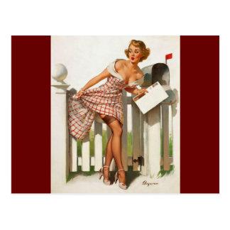 Chica modelo del buzón retro de Gil Elvgren del vi Tarjeta Postal