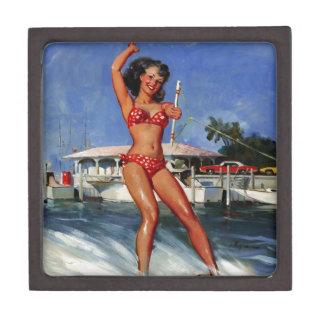Chica modelo del esquí acuático retro de Gil Elvgr Cajas De Recuerdo De Calidad