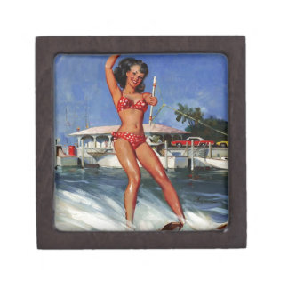 Chica modelo del esquí acuático retro de Gil Elvgr Caja De Recuerdo De Calidad
