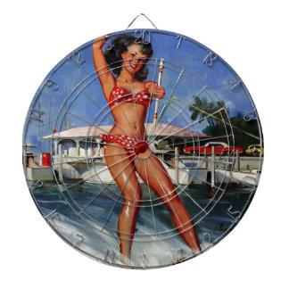 Chica modelo del esquí acuático retro de Gil Elvgr Tablero De Dardos
