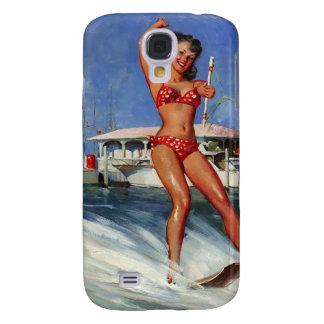 Chica modelo del esquí acuático retro de Gil Elvgr Funda Para Galaxy S4
