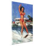 Chica modelo del esquí acuático retro de Gil Elvgr Lona Envuelta Para Galerias