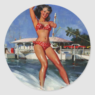 Chica modelo del esquí acuático retro de Gil Elvgr Etiqueta