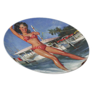 Chica modelo del esquí acuático retro de Gil Elvgr Plato