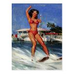 Chica modelo del esquí acuático retro de Gil Elvgr Postal