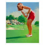 Chica modelo del golf retro de Gil Elvgren del vin Poster