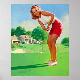 Chica modelo del golf retro de Gil Elvgren del vin Póster