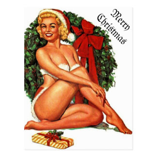 Chica modelo del navidad del vintage tarjeta postal