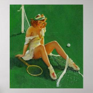 Chica modelo del tenis retro de Gil Elvgren del vi Póster